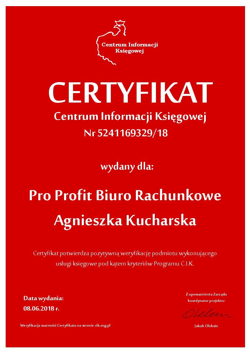 Certyfikat C.I.K.