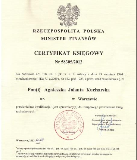 Certyfikat do usługowego prowadzenia ksiąg rachunkowych MF